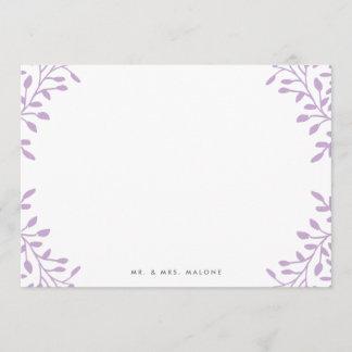 Secret Garden Wedding Stationery - Orchid Purple Note Card