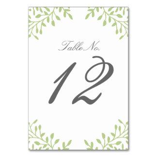 Secret Garden Wedding Table Number - Green Card