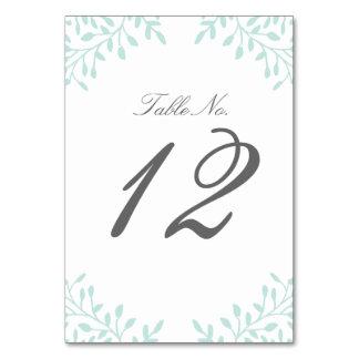 Secret Garden Wedding Table Number - Mint Card