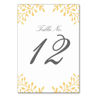 Secret Garden Wedding Table Number - Mustard Yello
