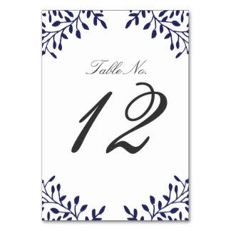 Secret Garden Wedding Table Number - Navy Card