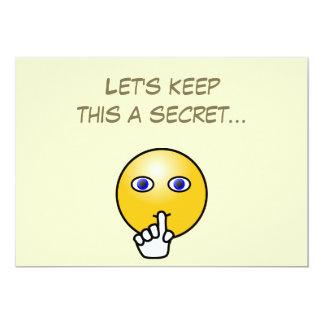 Secret hush emoticon surprise party card