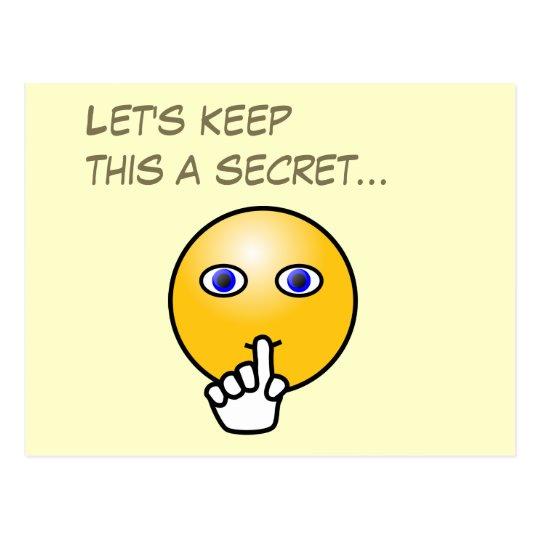 Secret hush emoticon surprise party postcard