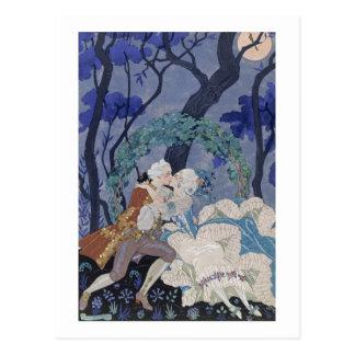 Secret Kiss, illustration for 'Fetes Galantes' by Postcard