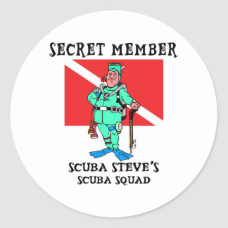 Secret Member SCUBA Steve Classic Round Sticker