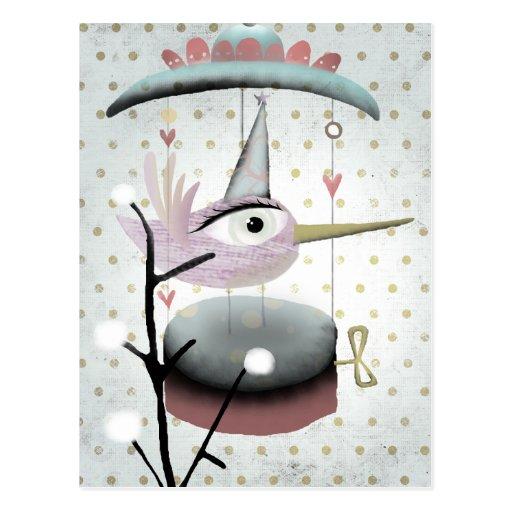Secret musical carrousel bird postcard