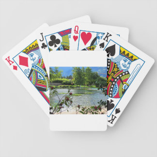 Secret pond on a beautiful sunny day bicycle playing cards