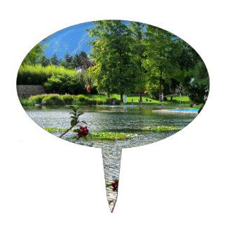 Secret pond on a beautiful sunny day cake topper