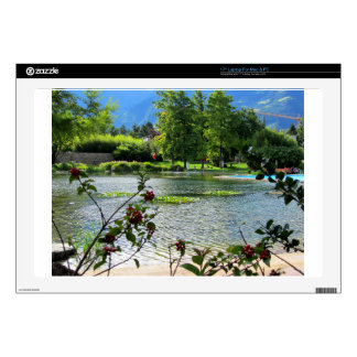 Secret pond on a beautiful sunny day decal for laptop