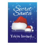 Secret Santa, Blue/Hat 5x7 Paper Invitation Card