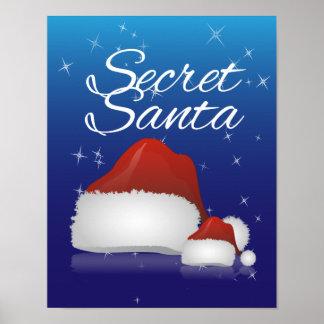 Secret Santa, Blue/Hat Poster