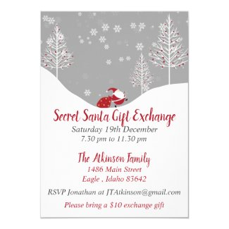 Secret Santa Christmas Gift Exchange Party Invitation