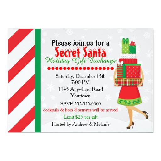 Secret Santa Gift Exchange Card | Zazzle