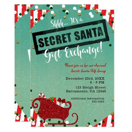 Christmas Ideas Secret Santa: Secret Santa Gift Exchange Christmas Holiday Party Card