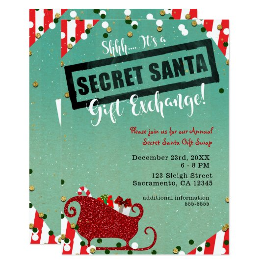 Secret Santa Gift Exchange Christmas Holiday Party Invitation
