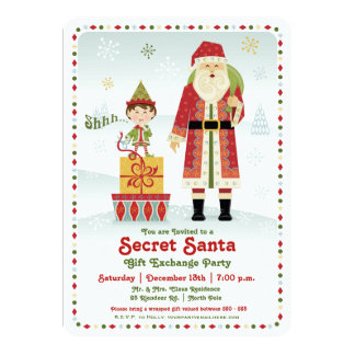 Secret Santa Gift Exchange Holiday Party 5x7 Paper Invitation Card