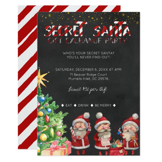 Secret Santa Gift Exchange Party Invitation