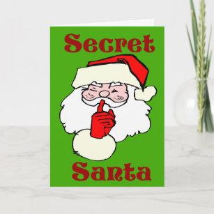 Funny secret santa cards zazzle secret santa on christmas green holiday card m4hsunfo