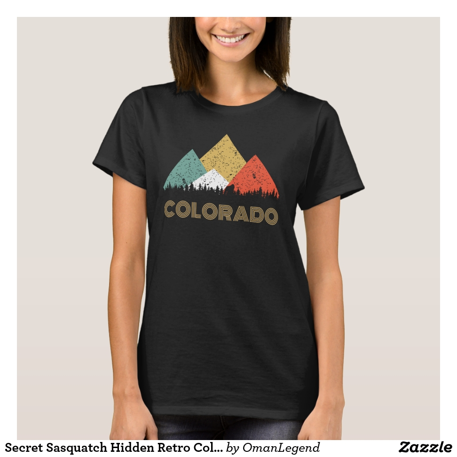 Secret Sasquatch Hidden Retro Colorado Hiding T-Shirt - Best Selling Long-Sleeve Street Fashion Shirt Designs