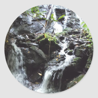 Secret Smoky Mountain Waterfall Classic Round Sticker