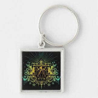 Secret Society Silver-Colored Square Keychain