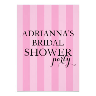 secret surprise bridal shower party pink stripes invitation