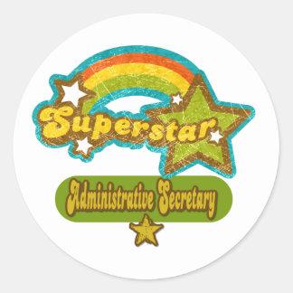 Secretaria administrativa de la superestrella pegatina redonda