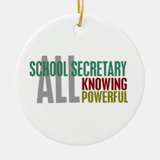 Secretaria de la escuela adorno navideño redondo de cerámica