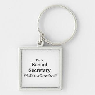 Secretaria de la escuela llavero cuadrado plateado