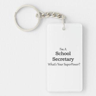 Secretaria de la escuela llavero rectangular acrílico a doble cara