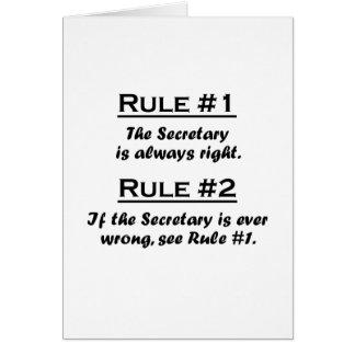 Secretaria de la regla tarjetas
