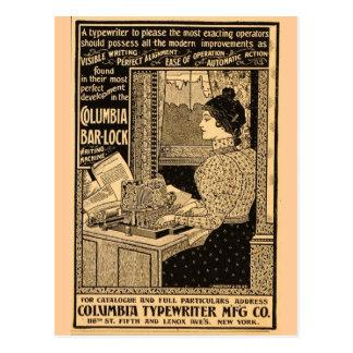 secretaria de los 1890's en la máquina de escribir postal