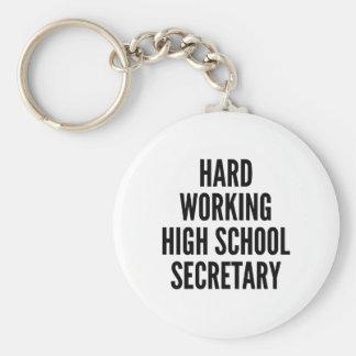 Secretaria de trabajo dura de la High School Llavero Redondo Tipo Pin