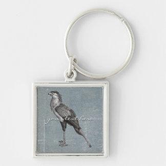 Secretaria pájaro del vintage llavero cuadrado plateado