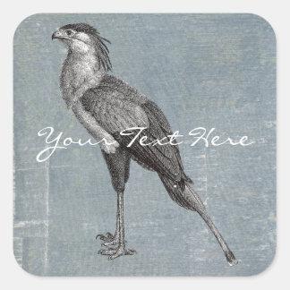 Secretaria pájaro del vintage pegatina cuadrada