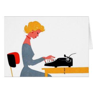 Secretaria retra, día profesional administrativo tarjeta