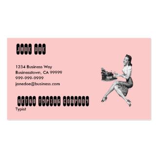 Secretaria retra tarjeta de negocio