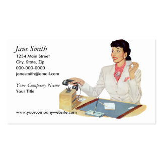 Secretaria retra tarjetas de visita