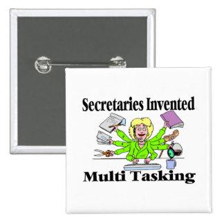Secretaries Invented Multi Tasking Pinback Button