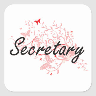 Secretary Artistic Job Design with Butterflies Square Sticker