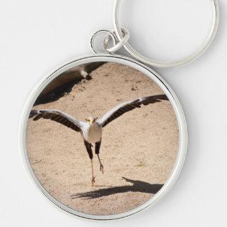 Secretary bird Silver-Colored round keychain