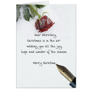 Secretary christmas letter on snow rose paper greeting card