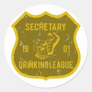 Secretary Drinking League Classic Round Sticker