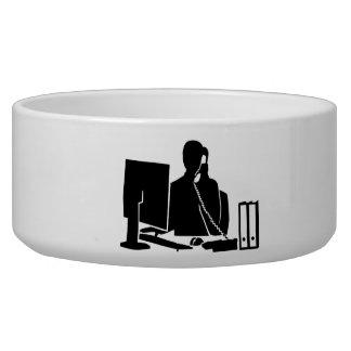 Secretary office woman dog water bowls