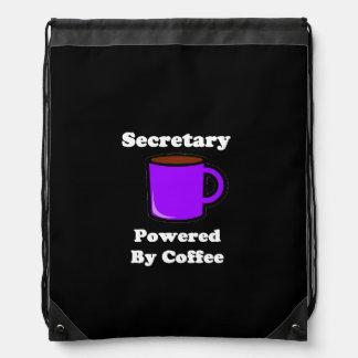 """Secretary""  Powered by Coffee Drawstring Backpack"
