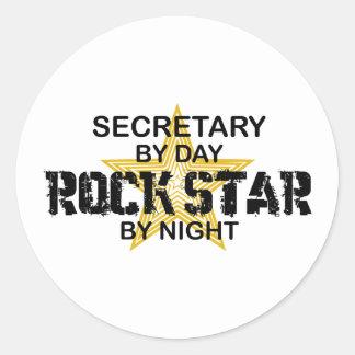 Secretary Rock Star by Night Classic Round Sticker