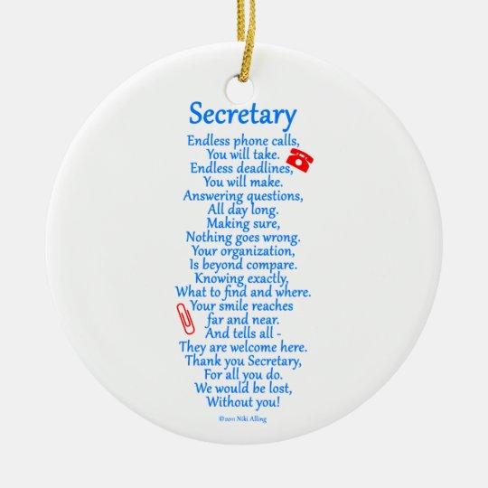 Secretary  Thank You Ceramic Ornament