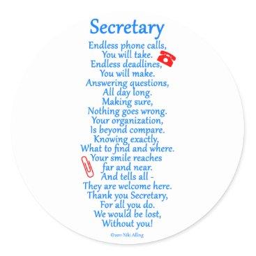 Secretary  Thank You Classic Round Sticker