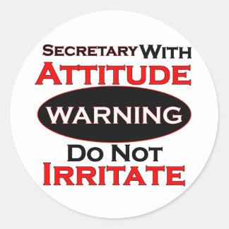 Secretary With Attitude Classic Round Sticker
