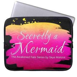 Secretly a Mermaid - 15in Laptop Sleeve Pink-Black